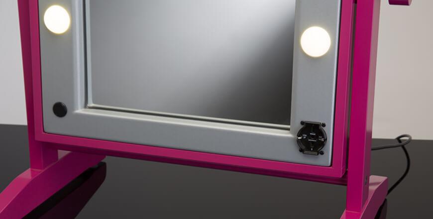 Tisch-Schminkspiegel mit Lichtern Mod. LTV, Rahmen aus lackiertem Holz